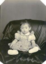 USA Hawaii Honolulu Japanese Toddler Girl Traditional Fashion Old Photo 1948