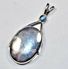 Amazing Vintage Sterling Silver 925 Blue Cats Eye Photo Locket Pendant