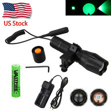 Zoom 5000LM Q5 Green LED Tactical Flashlight Torch Mount +18650+Switch+Charger