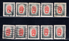 Canada #364(12) 1956 5 cent grey & red Prevent Fires 10 Used