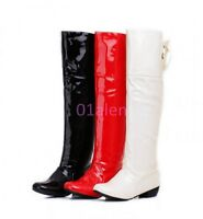 Ladies knee high Slouch boot shiny Leather pull on Low heel Riding Casual shoes
