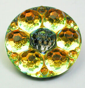"""Colorful Faceted Glass Button Shiny Orange Green Flower Design- 1 & 1/16"""""""