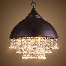 Rustic Barn Pendant Lamp Crystal Iron Dome Ceiling Light Dining Room Chandelier