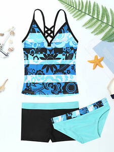 3PCS Kids Girls Tankini Floral Printed Swimsuit Swimming Bathing Costume Set Top
