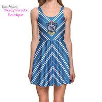 Harry Potter Hogwarts House Ravenclaw Crest Stripe Blue Skater Dress