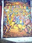 """Haitian Painting On Canvas, signed,  38"""" X 30"""" Unframed, musicians dancers drums"""