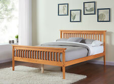 Double King Size Wood Bed Frame White or Caramel 4FT6 5FT Solid Wood Shaker Bed