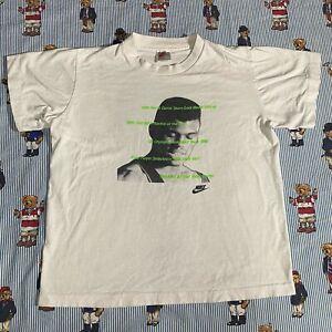 VINTAGE Nike GRAY TAG David Robinson Graphic T shirt YOUTH LARGE White Stats USA