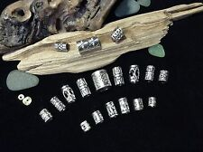 Dreadlock Beads **NEW BUMPER MIX** 18x Silver Dread Beads 5-10mm Hole Size UK