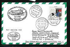 """78467) LH FF Köln - Dublin Irland 29.3.92, Karte FDC 1587 """"BAYERN"""""""