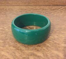 Chunky Wide Green Plastic Bangle Bracelet Modernist Statement Retro
