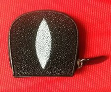 100% REAL GENUINE STINGRAY FISH SKIN BLACK LEATHER COIN PURSE WALLET STING RAY