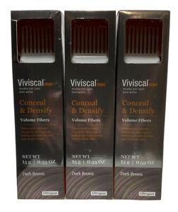 3 PACK-Viviscal Man Conceal and Densify Volumizing Fibers Dark Brown 0.53 oz ea