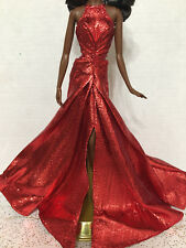 Barbie Doll Model Muse Holiday 2017 Metallic Red Sparkly Dress Evening Gown