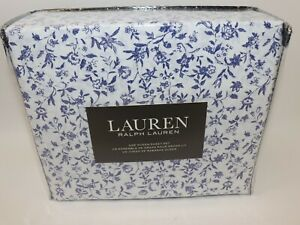 NWT $105 RALPH LAUREN White Blue Floral QUEEN Extra Deep Fitted Sheet Set