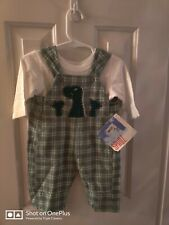 Nwt Spudz Sweet Potatoes Boys dino Shirt Sz 6 Months & Plaid green overall