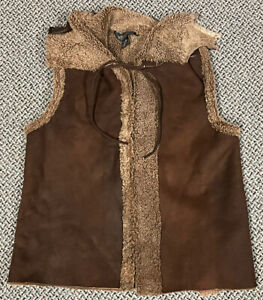 J. Peterman Company Shearling Leather Vest Mens Size Small