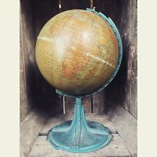 Antico Vintage Hammond 3036 anni 1930 anni 1920 GLOBE WORLD MAP DECO SUPPORTO METALLICO