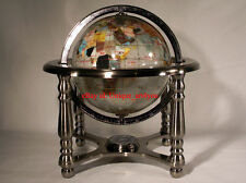 "10"" Tall Pearl Swirl Ocean Gemstone World map snow Globe with 4 Leg Silver Stand"