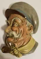 Vintage Chalkware Head Old Sea Captain Sailor Wiht Cap And Pipe