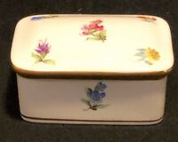 Vintage Herend Hungary Hand Painted Trinket Box, Floral With Gilded Trim