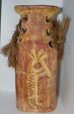 "Kokopelli Terra Cotta Floor Vase Pottery Fertility Flute Southwest Adobe 13"""