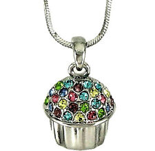 "Silvertone Adorable Cupcake Pendant Necklace 18"" Chain Fast Shipping"