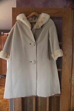 FUR WOMEN COAT CREAM TAN FULL LENGTH TRENCH LARGE? UNION MADE USA