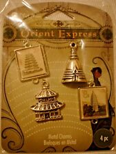 BLUE MOON-Orient ExpressTheme-4- Antiqued Silver Bead Drop Framed Pendant-Charms