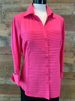 New~$44~ZAC & RACHEL Women's Large Pink 3/4-Sleeve Stretch Button-Shirt Top