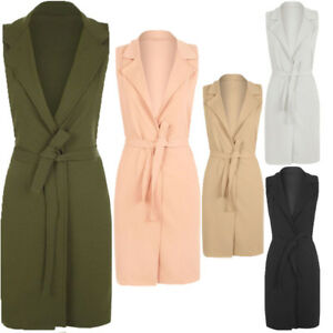 Ladies Plus Sleeveless Crepe Long Duster Coat Open Front Jacket Size 8-28