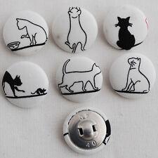 6 Botones cubierto de tela hecho a mano-Coser-Gato Negro - 25mm