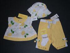 NWT Gymboree Lemon Tree 0-3 Months Poplin Top Pants Hat & Socks