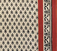 Burgundy & Black Hand Block Print Cotton Fabric 2½ Yards Cream Fabric Floral