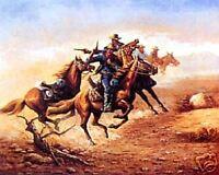 Shoot Out, Cowboy Gun Fight Art Poster Western Open Edition 16x20 Print IMP