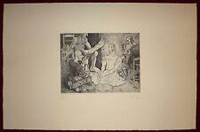 Alfred Courmes gravure originale signée 1944 surréalisme mythologie panique art