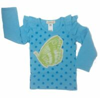 Everbloom Girls T-Shirt Blue Size 6 Long Sleeve Cotton Ruffle Butterfly Tee NEW