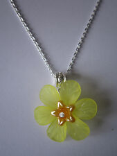 Ladies 17 inch Buttercup Necklace, Silver Plated - Yellow Lucite Flowers
