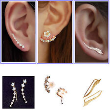 Hot Women 925 Sterling Silver & Metal Crystal Leaf Rhinestone Ear Stud Earrings