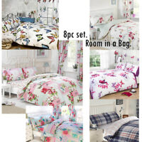8pc Complete Bedroom in a Bag, Duvet Cover, Curtains, Fitted Sheet & Pillowcases