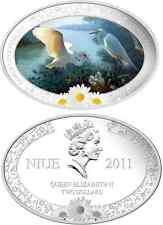 2011 Niue $2 Family Love Fidelity, The Stork Daisy flower 1 Oz Silver Proof Coin