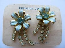 1940s Dazzling Blue Enamel Clear Paste Flower Ballroom Anodised Ladies Earrings