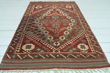 "Antique Turkish Rug, Handmade 5x7 Rug Wool Red and Brown Carpet Teppiche 41""x61"""