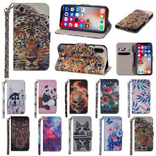 3D Flip Patterned PU Leather Card Pocket Kickstand Strap Case TPU Cover Bumper 1