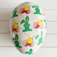 Vintage Candy Easter Yellow Green Bunny Chick Paper Mache Egg Container