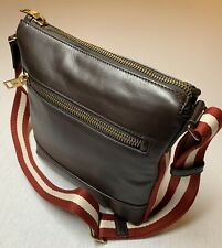 $900 Bally Large Brown 100% Leather Messenger Bag With Adjustable Strap