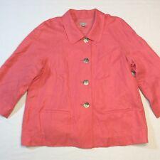 J Jill Coral Salmon Linen Silk Lined Button 3/4 Sleeve Blazer Top Jacket Medium