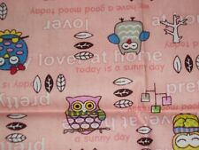 Lover At Home ~Owls on Pink ~ 18 X 21~~2 Pieces  1/2 Yd  Total      Z2