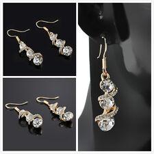 Womens Dangle Crystal Rhinestone Elegant Ear Stud Earrings Fashion Jewelry Gift