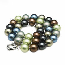 12mm Multicolor South Sea Shell Pearl Round Gemstone Beads Necklace 18/24""